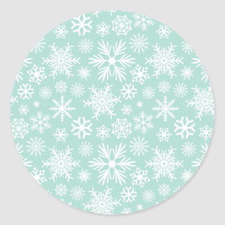 White Snowflake on Mint Green Round Sticker