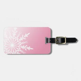 White Snowflake on Pink Luggage Tag