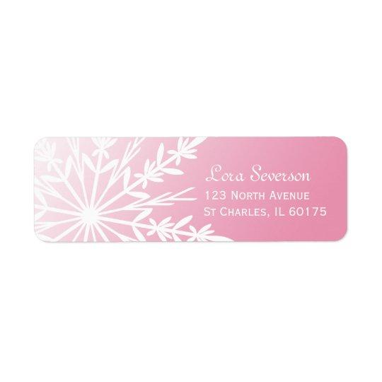 White Snowflake on Pink Return Address
