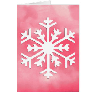 White snowflake on Pink Watercolor Background Card