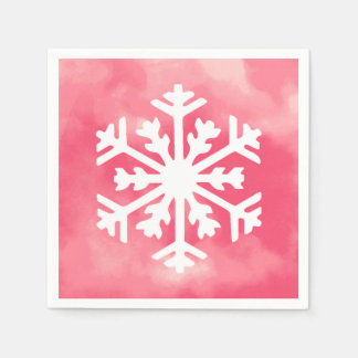 White snowflake on Pink Watercolor Background Disposable Napkin