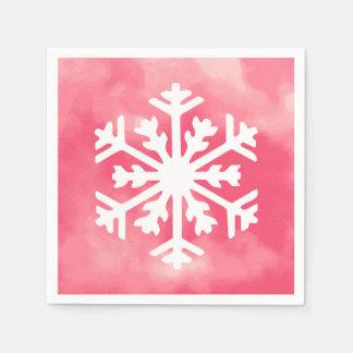 White snowflake on Pink Watercolor Background Napkin