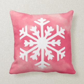 White snowflake on Pink Watercolor Background Throw Pillow