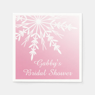 White Snowflake on Pink Winter Bridal Shower Paper Napkins