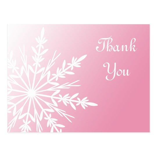 White Snowflake on Pink Winter Thank You Postcard