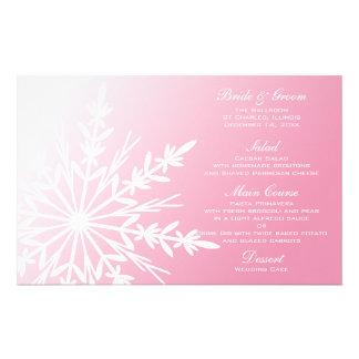 White Snowflake on Pink Winter Wedding Menu Stationery Design