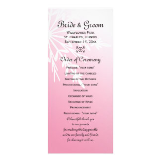 White Snowflake on Pink Winter Wedding Program
