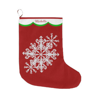 White Snowflake on Red Personalized Large Christmas Stocking
