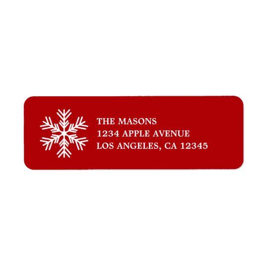 White Snowflake On Red Return Address Label
