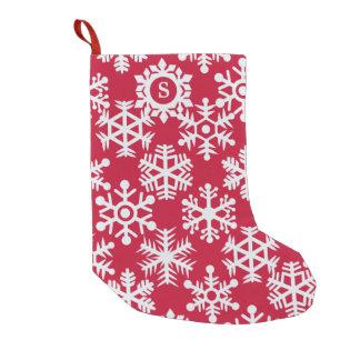 White Snowflake Pattern Monogram Festive Red Small Christmas Stocking