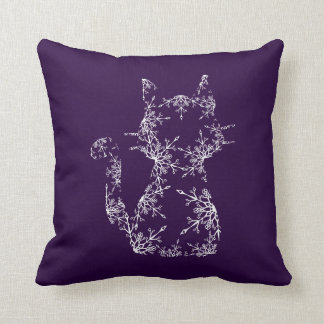 White Snowflake Patterned Cat Silhouette Throw Pillow