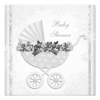 "White Snowflake Winter Wonderland Baby Shower 5.25"" Square Invitation Card"