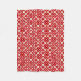 White snowflakes and scottie with red background fleece blanket