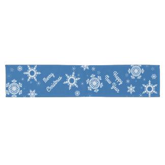 White Snowflakes Blue Table Runner