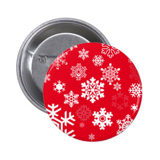 White Snowflakes - Customizable Background Color 2 Inch Round Button