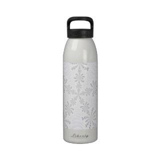 White Snowflakes Fractal Bottle Drinking Bottles