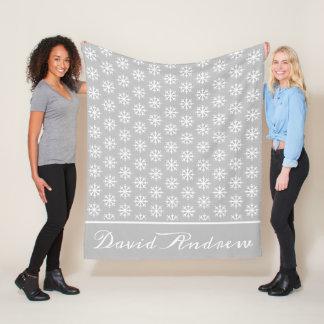 White Snowflakes on Ash Grey Personalized Fleece Blanket