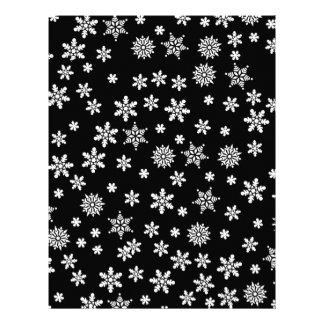 White Snowflakes on Black Background Letterhead