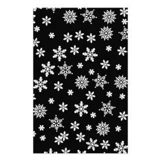 White Snowflakes on Black Background Personalized Stationery