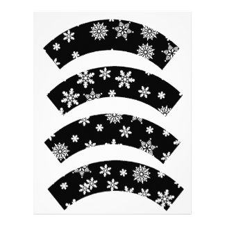 White Snowflakes on Black Cupcake Liners Customized Letterhead
