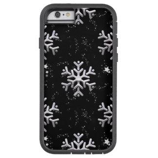 White Snowflakes On Black Tough Xtreme iPhone 6 Case