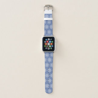 White Snowflakes on Blue Apple Watch Band