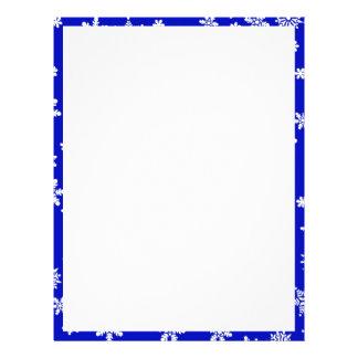 White Snowflakes on Blue  Background Letterhead