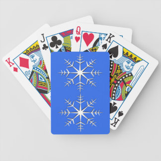 White Snowflakes on Blue Bicycle Playing Cards