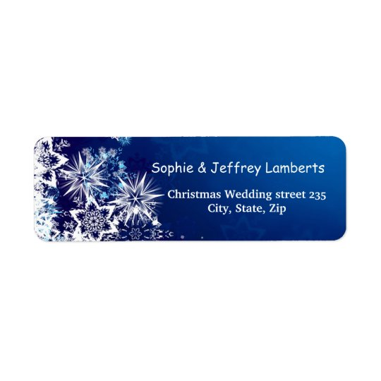 White snowflakes on blue Christmas Return Address Label