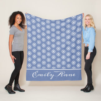 White Snowflakes on Blue Grey Personalized Fleece Blanket
