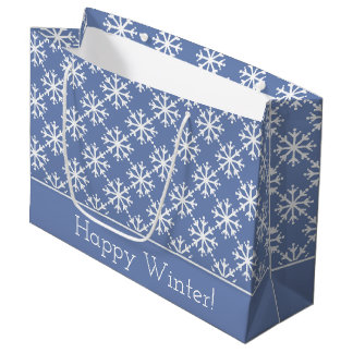 White Snowflakes on Blue Grey Personalized Large Gift Bag