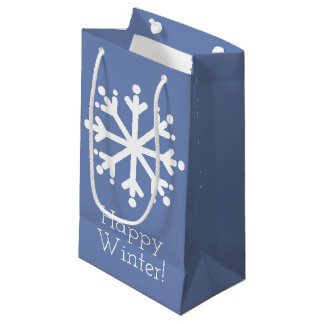 White Snowflakes on Blue Grey Personalized Small Gift Bag