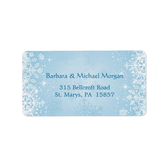White snowflakes on blue Return address Label