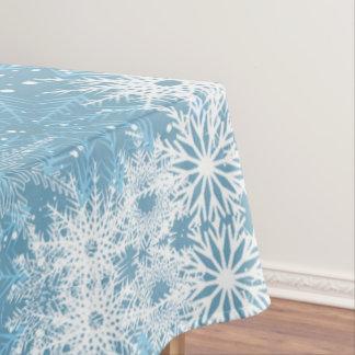 White Snowflakes on Blue Tablecloth