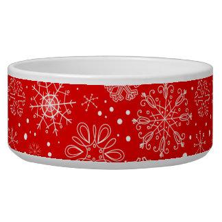 White Snowflakes on Christmas Red