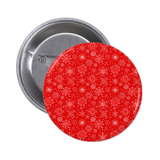 White Snowflakes on Christmas Red 2 Inch Round Button