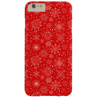 White Snowflakes on Christmas Red Barely There iPhone 6 Plus Case