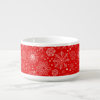 White Snowflakes on Christmas Red Bowl