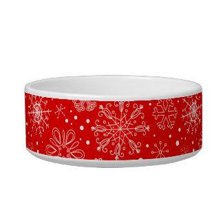 White Snowflakes on Christmas Red Bowl