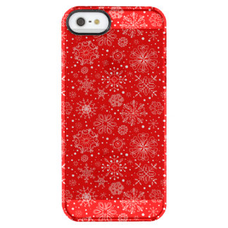 White Snowflakes on Christmas Red Clear iPhone SE/5/5s Case