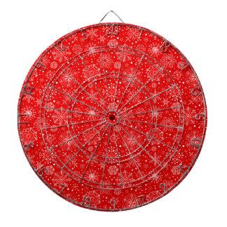 White Snowflakes on Christmas Red Dartboard