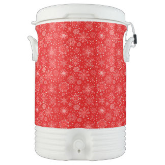 White Snowflakes on Christmas Red Drinks Cooler