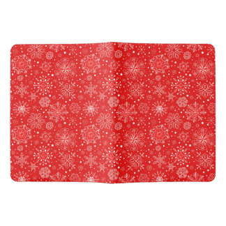 White Snowflakes on Christmas Red Extra Large Moleskine Notebook