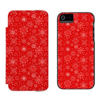 White Snowflakes on Christmas Red Incipio Watson™ iPhone 5 Wallet Case