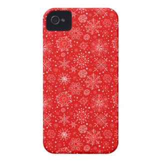 White Snowflakes on Christmas Red iPhone 4 Case-Mate Cases