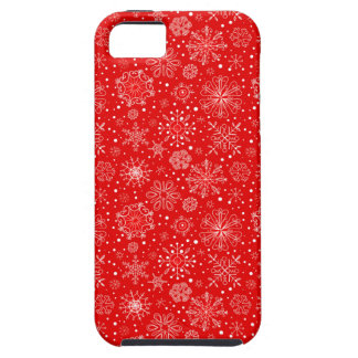 White Snowflakes on Christmas Red iPhone 5 Covers