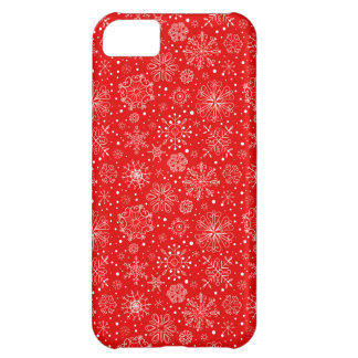 White Snowflakes on Christmas Red iPhone 5C Covers