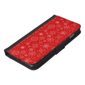 White Snowflakes on Christmas Red iPhone 6/6s Plus Wallet Case