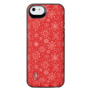 White Snowflakes on Christmas Red iPhone SE/5/5s Battery Case