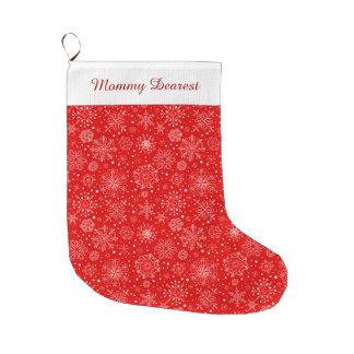 White Snowflakes on Christmas Red Large Christmas Stocking